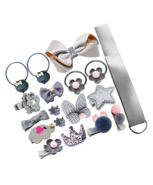 Bembika Combo of Headband & Hair Accessories Pack of 18 - Grey
