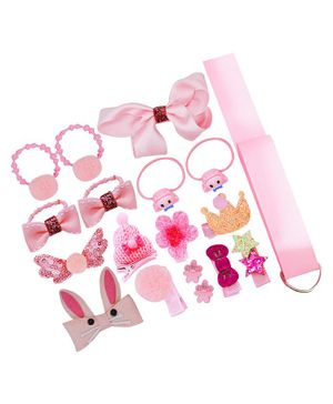 Bembika Combo of Headband & Hair Accessories Pack of 18 - Pink