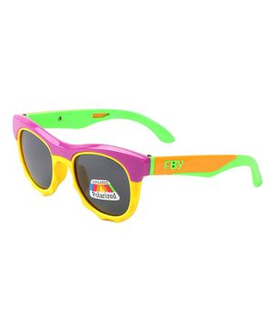 Spiky Colorblock Polarised UV Protected Sunglasses - Violet
