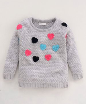 Babyoye Full Sleeves Sweater Heart Patch - Grey Melange