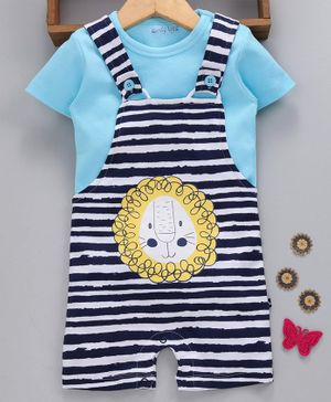 Mom's Love Stripe Dungaree Style Romper With Tee Lion Print - Light & Navy Blue