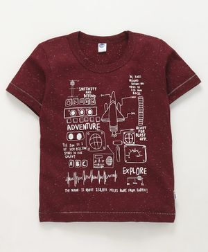 Teddy Half Sleeves T-Shirt Graphic Print - Maroon