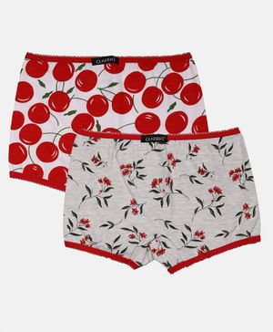 Claesens Holland Combo Of 2 Flower Print Panties  - Red & Grey