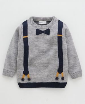Babyoye Full Sleeves Acrylic Sweater With Mock Suspenders And Bow - Grey