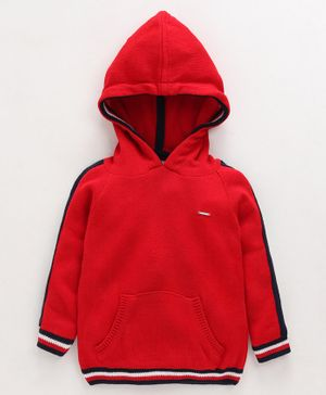 Babyoye Full Sleeves Hooded Sweater  - Red