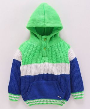 Babyoye Hooded Sweater Striped Pattern - Green Blue