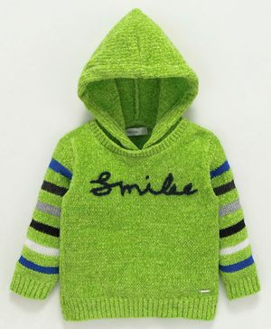 Babyoye Full Sleeves Hooded Sweater Smile Print - Green