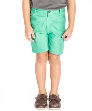 Cherry Crumble California Knee Length Solid Shorts - Green