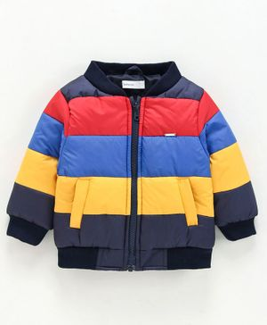 Babyoye Full Sleeves Stripe Padded Jacket - Multicolour
