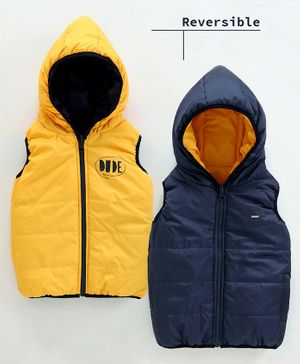Babyoye Hooded Sleeveless Reversible Padded Jacket Dude Print - Yellow Navy