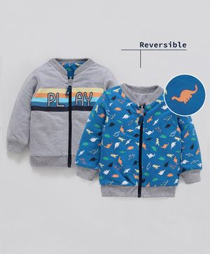 Babyoye Full Sleeves Reversible Sweat Jacket Dino Print - Blue Grey