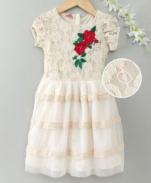 UFO Rose Flower Patch Short Sleeves Dress - Off White