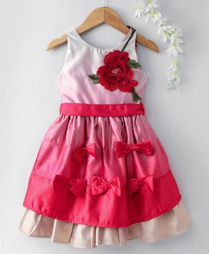 UFO Flower Patch Sleeveless Bow Dress - Red