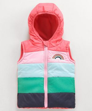 Babyoye Sleeveless Hooded Panel Jacket Rainbow Patch - Pink