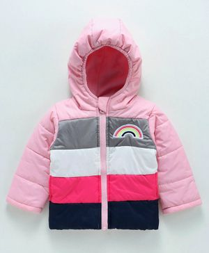 Babyoye Full Sleeves Hooded Jacket Rainbow Patch - Pink