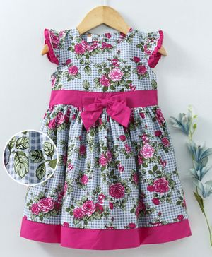 Dew Drops Flutter Sleeves Frock Floral Print & Bow Applique - Pink Blue