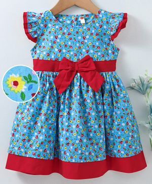 Dew Drops Flutter Sleeves Frock Floral Print & Bow Applique - Red Light Blue