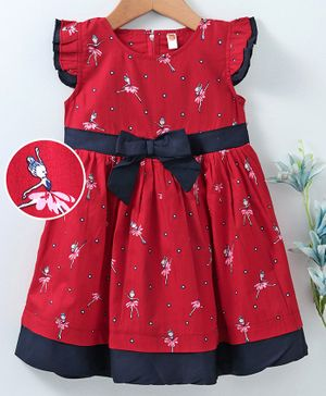Dew Drops Flutter Sleeves Frock Fairy Print & Bow Applique - Red Black