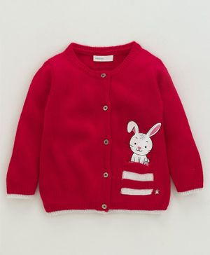 Babyoye Full Sleeves Sweater Bunny Design - Red