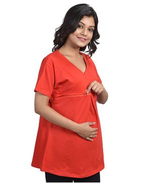 Mommy Cuddle Solid Half Sleeves Maternity Top - Red