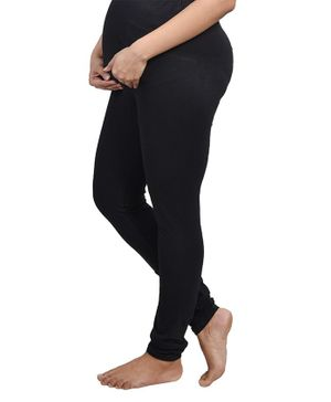 Mommy Cuddle Solid Full Length Maternity Leggings - Black