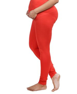Mommy Cuddle Solid Full Length Maternity Leggings - Red