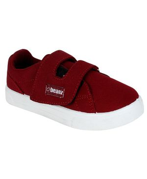 Beanz Solid Double Velcro Casual Shoes  - Red