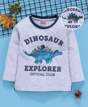 Babyhug Full Sleeves Tee Dinosaur Print - Grey