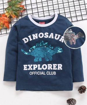 Babyhug Full Sleeves Tee Dinosaur Print - Blue