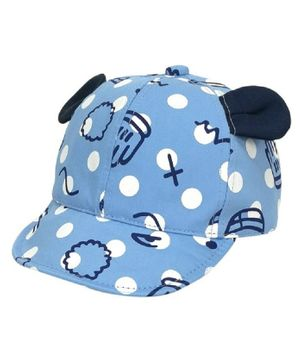 Ziory Dot Print Cap With Bear Ear - Blue