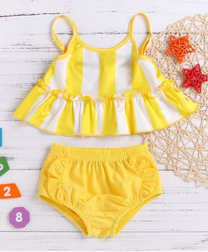 Pre Order - Awabox Sleeveless Striped Two Piece Swimsuit - Yellow