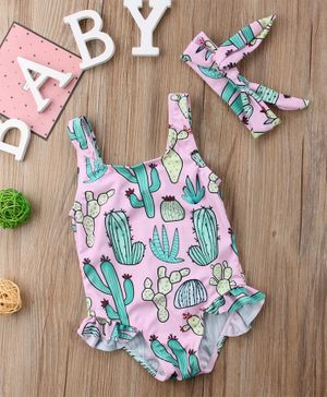 Pre Order - Awabox Sleeveless Cactus Print Swimsuit With Headband - Pink