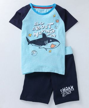 Lazy Shark Printed Half Sleeves T-Shirt & Shorts Set - Blue