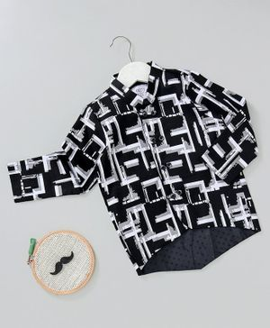 Knotty Kids Full Sleeves Abstract Print Shirt - Black