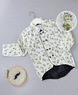Knotty Kids Full Sleeves Flower Print Chinese Collar Neck Shirt - Green