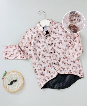 Knotty Kids Full Sleeves Flower Print Chinese Collar Neck Shirt - Brown