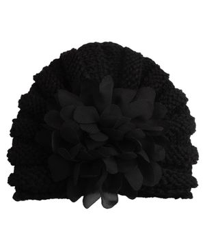 Babymoon Baby Knitted Cap Floral Applique - Black