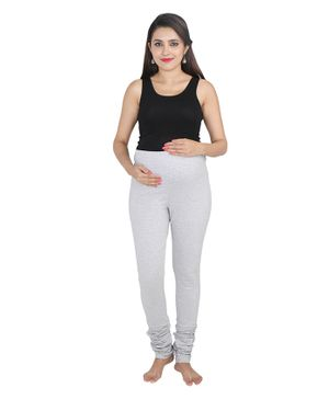 Lulamom Maternity Active Full Length Legging With Belly Band Support - Light Grey