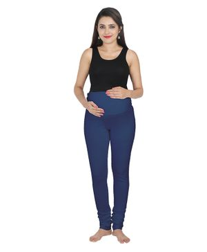 Lulamom Maternity Active Full Length Legging With Belly Band Support- Blue