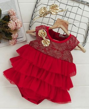 Mark & Mia Party Wear Layered Frock Style Onesie Bow Design - Red