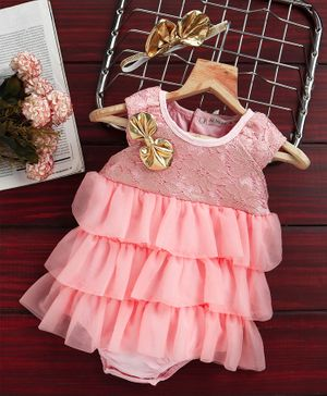 Mark & Mia Party Wear Layered Frock Style Onesie Bow Design - Pink