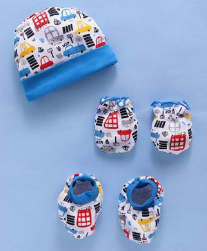 Babyhug Cotton Cap Mittens And Booties Vehicle Print - White Blue