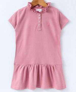 Eimoie Short Sleeves Solid Dress - Light Pink