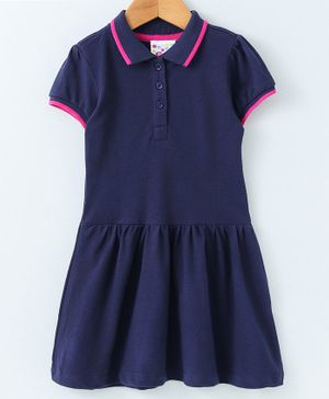 Eimoie Half Sleeves Solid Dress - Navy Blue