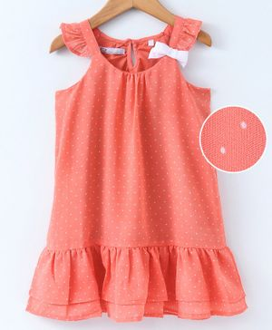 Eimoie Dots Printed Sleeveless Dress - Peach