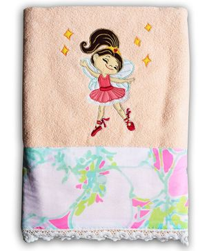 Princess & Her Bunny Bath Towel Girl Embroidery - Peach