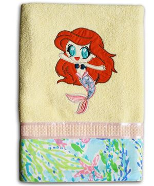 Princess & her Bunny Bath Cotton Towel Mermaid Patch - Yellow