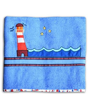 Princess & her Bunny Bath Cotton Towel Light House Patch - Blue