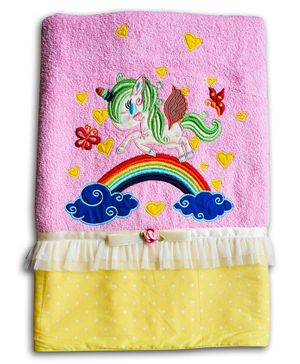 Princess & her Bunny Bath Cotton Towel Unicorn Patch - Pink