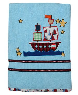 Princess & her Bunny Bath Towel Boat Embroidery - Sky Blue